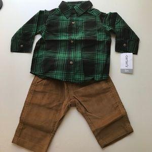 Carter's 3 month boys NWT set shirt and pants